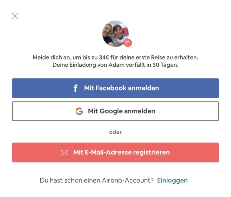 Airbnb Anmelden Schritt 1