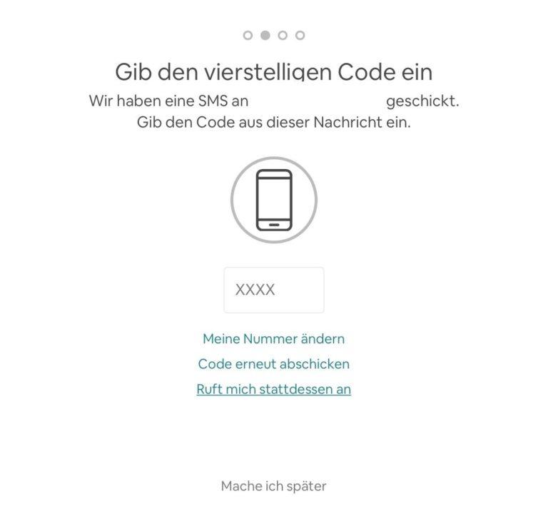 Airbnb Anmelden Schritt 6 Telefonnummer bestätigen Code