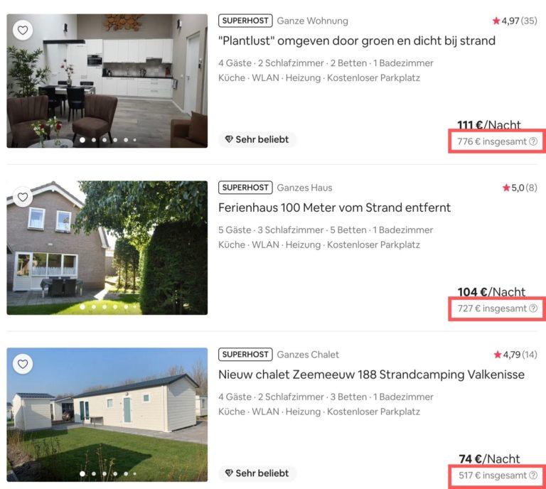 Airbnb Unterkunft suchen Domburg Ergebnisse Preise insgesamt