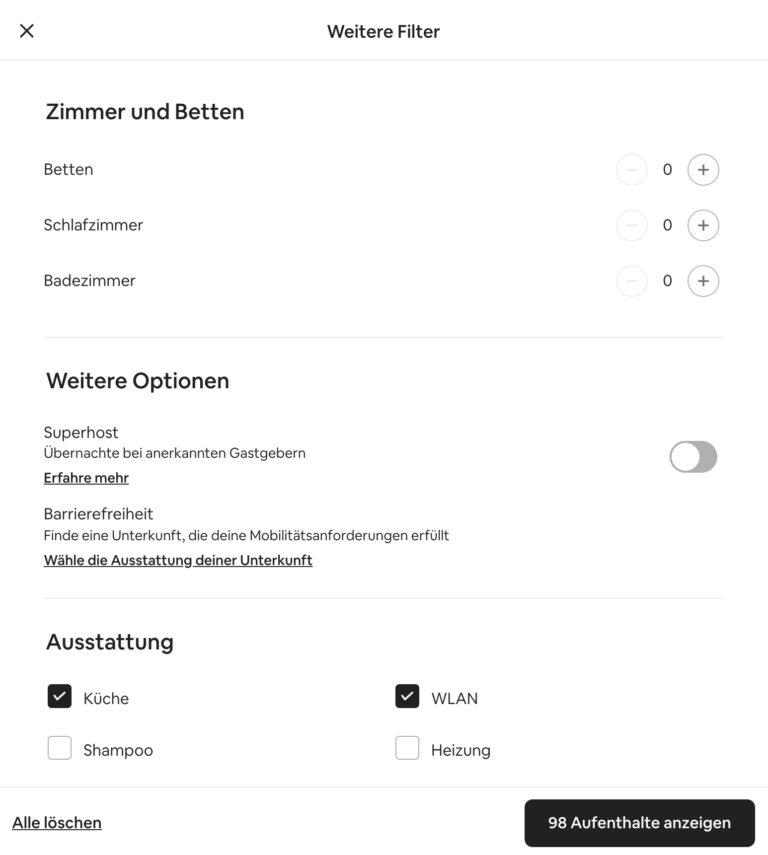 Airbnb Unterkunft suchen Domburg Filter Weitere Filter