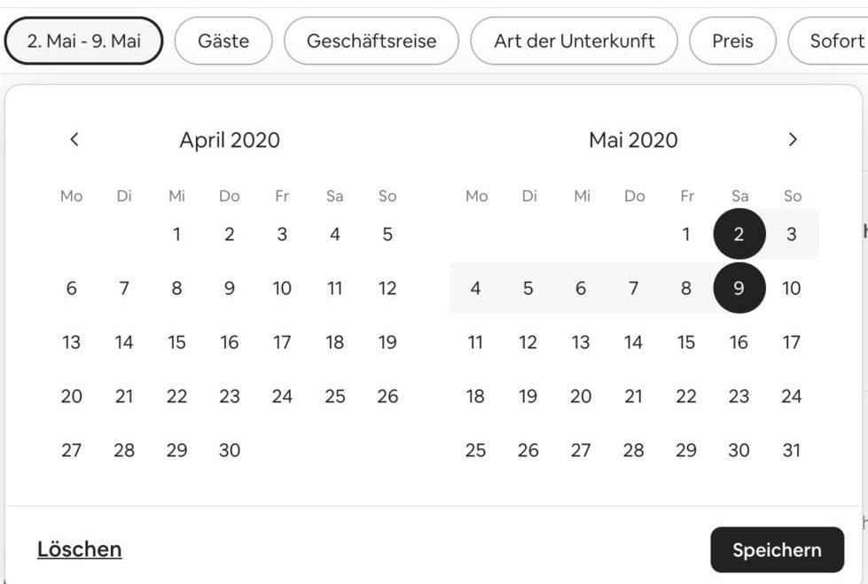 Airbnb Unterkunft suchen Domburg Filter Reisedaten